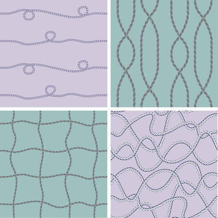 Set of seamless patterns with ropes. Vector illustration.
