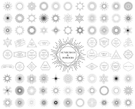 Sunbursts and borders collection. Vector illustration.