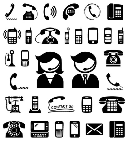 communication icons: Set of communication  contact us icons.  Illustration