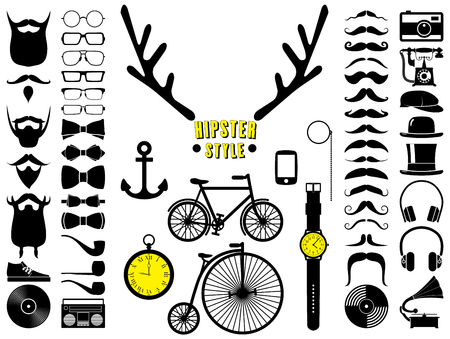 Set of hipster icons.