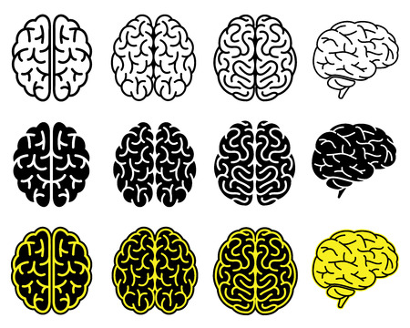medicine icons: Set of human brains.