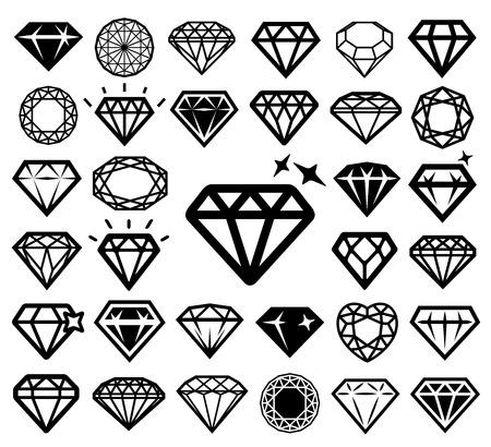 coeur diamant: icônes de diamant serti.