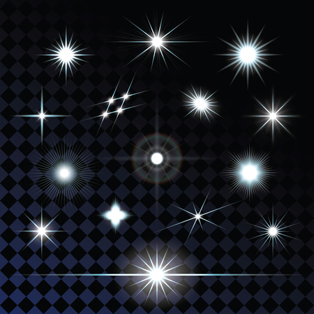 Set of sparkle lights with transparency effects. Eps 10 vector illustration.