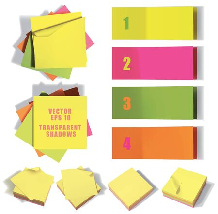 Set of sticky notes. Vector illustration with transparencies.