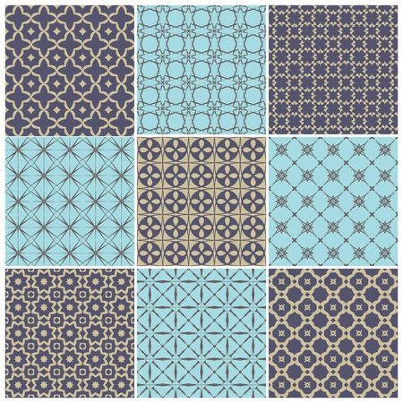 Set of seamless patterns. Vector illustration.