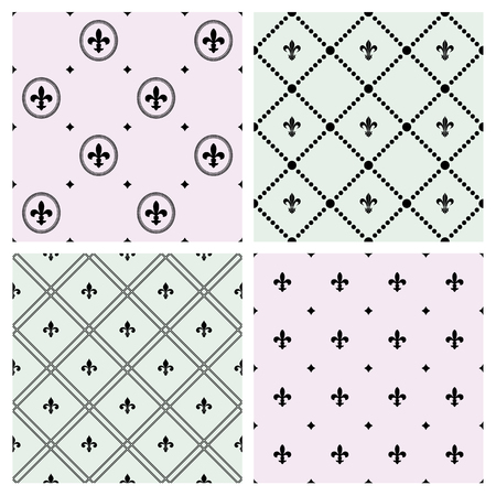 Set of seamless patterns with Fleurs-de-lis icons.   イラスト・ベクター素材