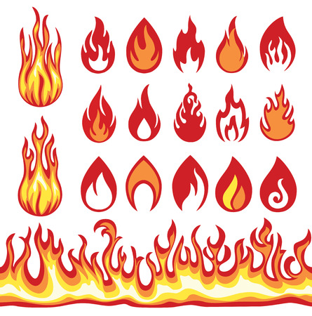 colourful fire: Set of Flame icons. Fire symbols.