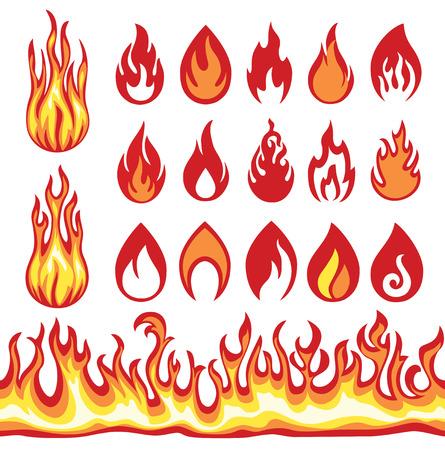 Ustaw płomienia ikony. symbole ognia.