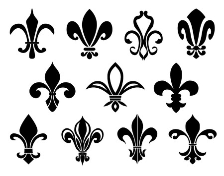 french symbol: Set of Fleurs-de-lis icons.  Illustration