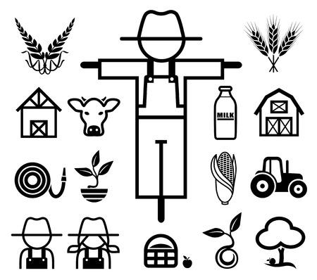 animales granja: Conjunto de iconos de cultivo.