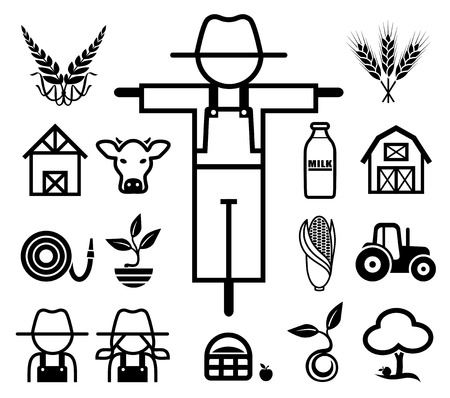 barn: Set of farming icons.  Illustration
