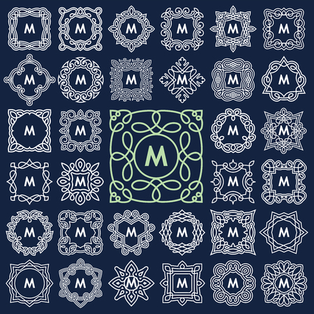 marcos redondos: Conjunto de diseño elegante del monograma. Ilustración del vector.