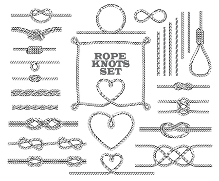 overhand: Rope knots collection. Seamless decorative elements.