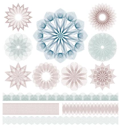 Set of Guilloche decorative elements.