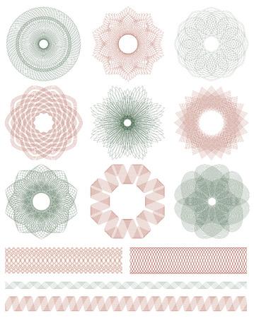 Set of Guilloche decorative elements.   イラスト・ベクター素材