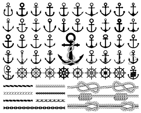 nautical vessel: Set of anchors, rudders icons, and ropes. Illustration