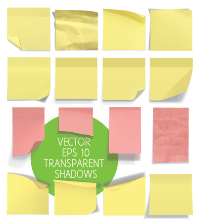 yellow sticky note: Set of sticky notes. Vector illustration with transparencies. Illustration