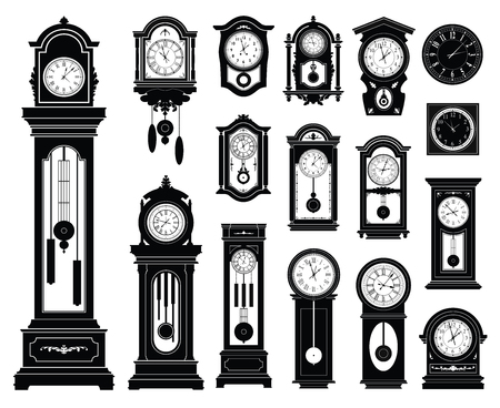 vintage wall: Set of clocks.