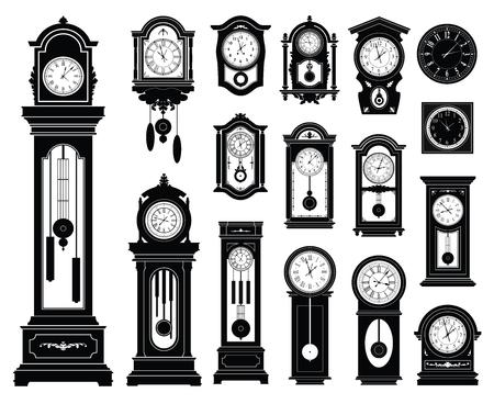 antik: Set von Uhren. Illustration