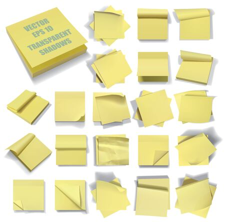 Set of sticky notes. Transparent shadows.
