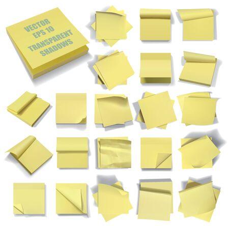 memo board: Set of sticky notes. Transparent shadows.