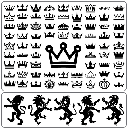 crown: Set of crowns and lion rampant. Heraldry elements design collection.