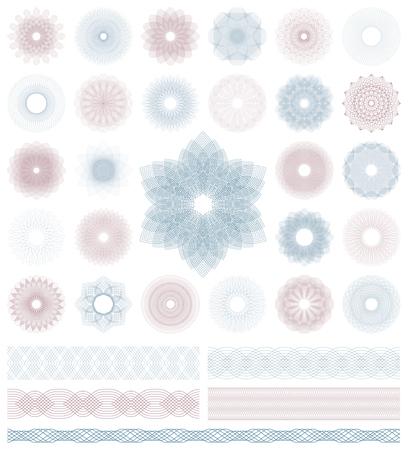 Set of Guilloche decorative elements. Vector illustration.  イラスト・ベクター素材