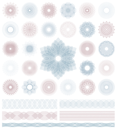 Set of Guilloche decorative elements. Vector illustration. 일러스트