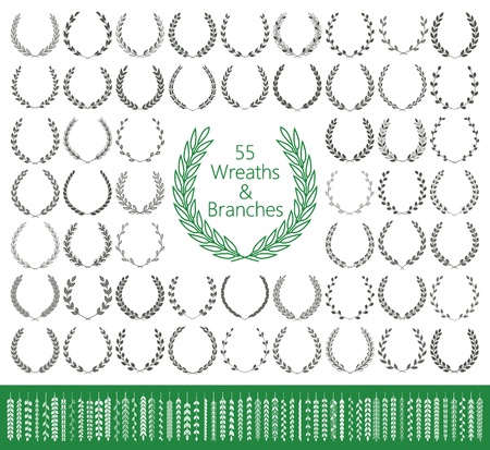 55 wreaths and branches in September Vector illustration.