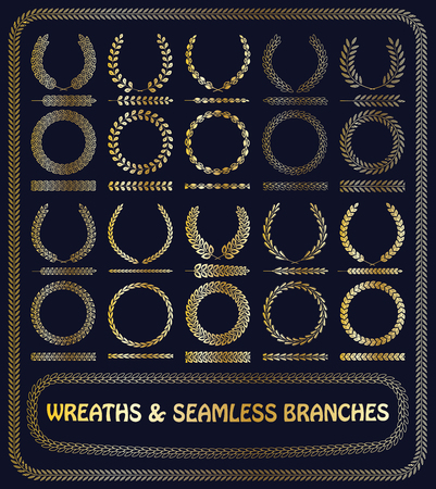 Wreaths, branches and foliage seamless patterns. Vector illustration. 向量圖像
