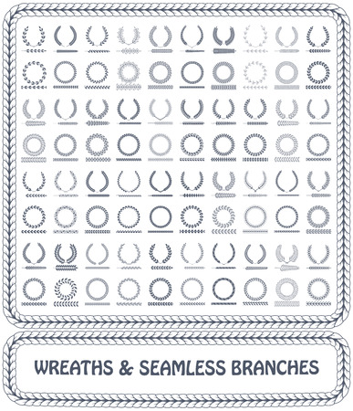 Wreaths, branches and foliage seamless patterns. Vector illustration.  イラスト・ベクター素材
