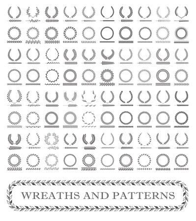 Wreaths, branches and foliage patterns. Vector illustration.
