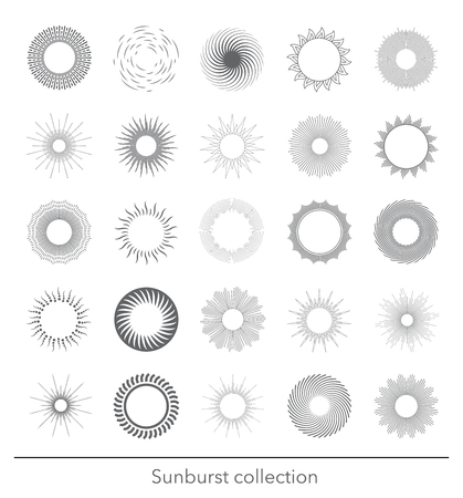 Sunbursts collection. Vector illustration.