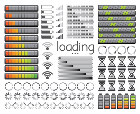 Set of loading bars, battery charge levels and wifi signal strength. Vector illustration.
