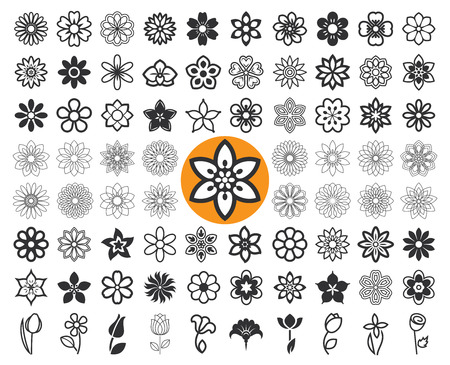 Set of flower icons and floral guilloche. Floriculture symbols. Vector illustration. 向量圖像