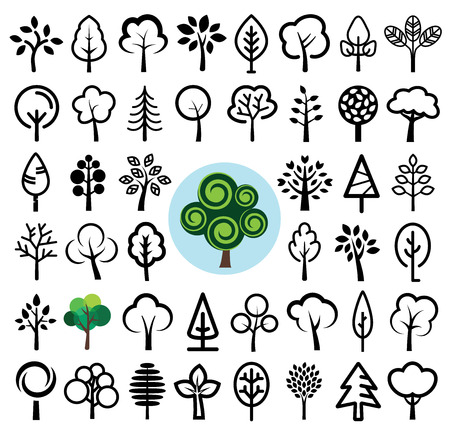 Set of tree icons. Vector illustration.