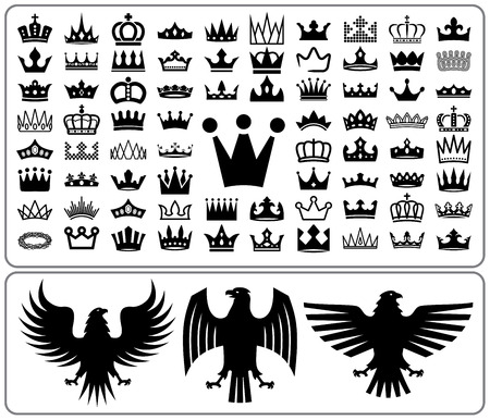 Set of crowns and eagle rampant. Heraldry elements design collection. Vector illustration.