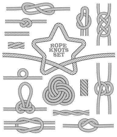 Ensemble de nœuds de corde et tapis. Éléments décoratifs sans soudure. Illustration vectorielle.