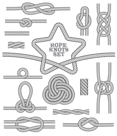 Set of rope knots and rug. Seamless decorative elements. Vector illustration.