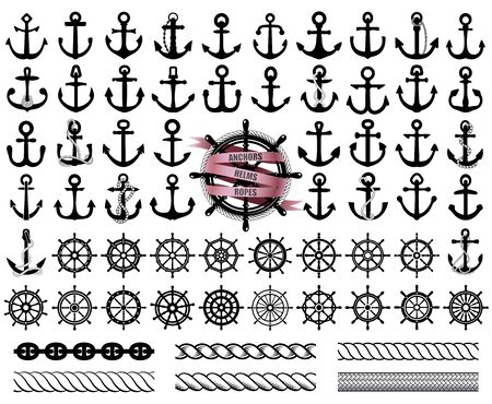 Set of anchors, rudders icons, and ropes. Vector illustration. 向量圖像