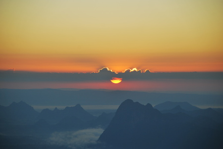 The sunrise at Phukadueng Stock Photo