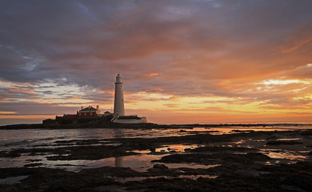 Cloudy Sunrise at St Marys Lighthouse in the North East of England.