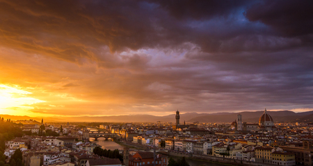 The beautiful city of Florence, Italy at sunset from the Piazzale Michelangelo