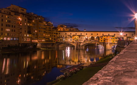 Night time at the Ponte Vecchio, Florence, Italy