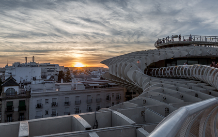 The Metropol Parasol structure in Seville, Spain at sunset