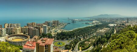 A panorama of Malaga city in Southern Spain