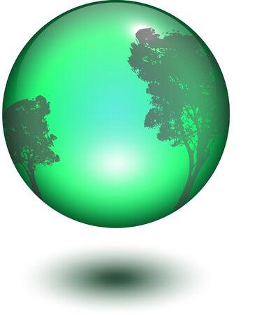 glass ball with tree reflection or window reflection Çizim