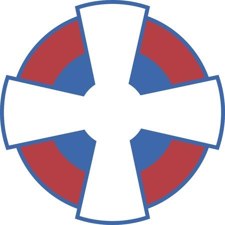 Serbian air force Cross Paty convexed, aka Kosovki krst, fully editable