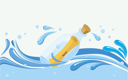 water flow: bottle with paper scroll message in it on water, variable text samples  help, contact us, message received, go with the flow   fully editable  Illustration