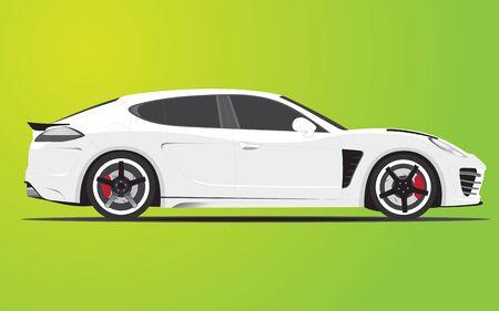 white sport sedan family car, fully editable  Çizim